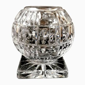 French Ball-Ground Cut Lead Crystal Vase, 1940s