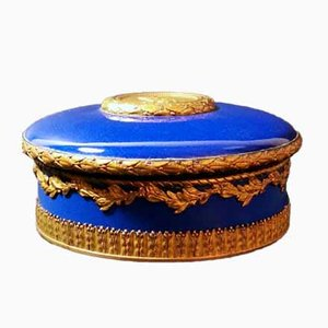 Antique French Ceramic and Golden Bronze Box from Paul Milet