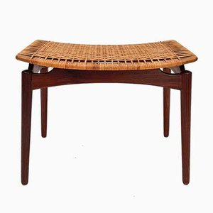 Danish Teak and Cane Stool from Olholm Mobelfabrik, 1950s