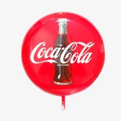 Großes Doppelseitiges Coca Cola Emailleschild, 1960er