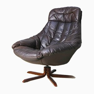 Danish Brown Leather Swivel Chair by H. W. Klein for Bramin, 1970s