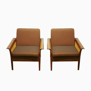 Norwegian Rosewood and Rattan Armchairs by Hans Olsen for Vatne Møbler, 1970s, Set of 2