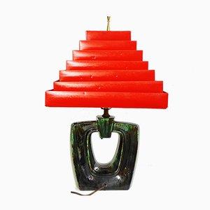 Italienische Mid-Century Chartreuse Tischlampe aus Metall