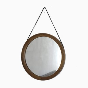 Espejo danés Mid-Century de cuero y roble
