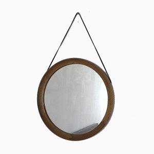 Miroir Rond Mid-Century en Cuir et Chêne, Danemark