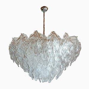 Lámpara de araña Mid-Century grande de cristal de Murano transparente, años 70