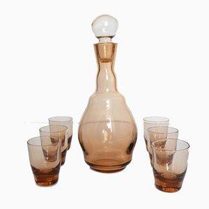 Deutsche Karaffe & Trinkgläser aus Glas von Schott Zwiesel, 1970er, 7er Set