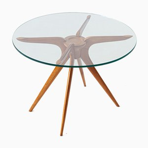 Mesa de centro italiana redonda de vidrio y haya, años 50