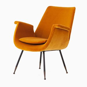 Italian Yellow Velvet Lounge Chair by Gastone Rinaldi, 1950s