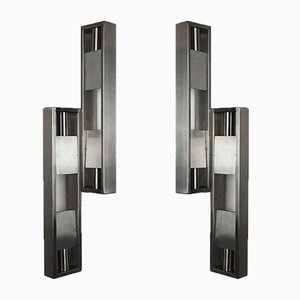 Stainless Steel Sconces, 1970s, Set of 2