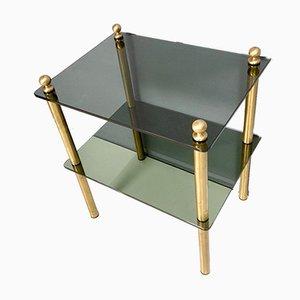 Tables de Chevet Mid-Century en Verre Fumé et en Laiton, Italie, années 60, Set de 2