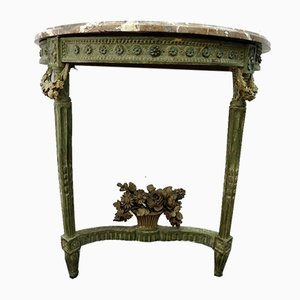 Louis XVI French Green Carved Wood and Marble Console Table, 1790s