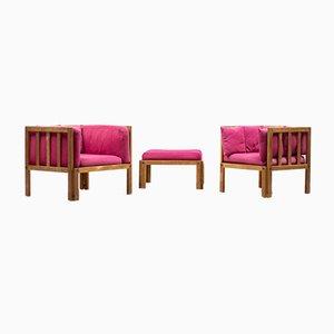 Architektonische skandinavische Sitzgruppe, 1960er, 3er Set