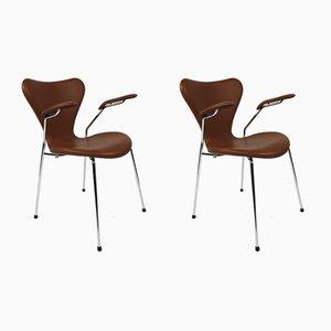 3207 Armlehnstühle von Arne Jacobsen, 1950er, 2er Set