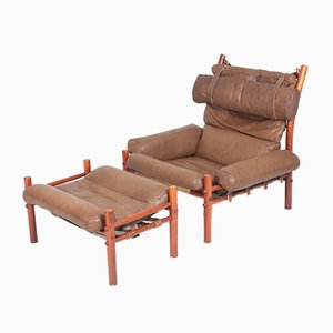 Swedish Leather Model Inca Lounge Chair and Ottoman Set by Arne Norell for Arne Norell AB, 1960s