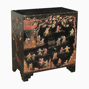Vintage Chinoiserie Lacquered Wood Cupboard from Oriente