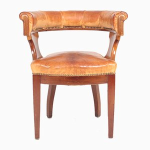 Danish Patinated Leather and Mahogany Armchair, 1930s