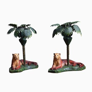 Cast Iron Lioness and Palm Tree Candleholders, 1980s, Set of 2