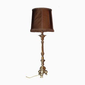 Large Silver Plated Bronze Table Lamp, 1950s