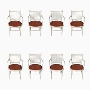 Mid-Century Armlehnstühle mit Sitzflächen aus patiniertem Leder von Bjørn Wiinblad, 1970er, 8er Set
