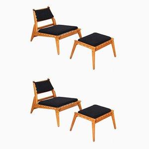 Dänische Mid-Century Sessel mit Fußhocker, 4er Set