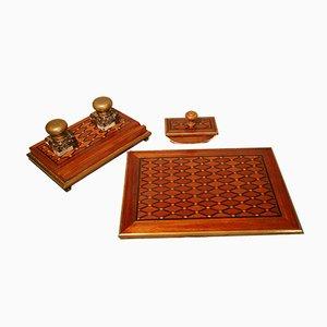 Antikes Schreibtischset aus Holz & Messing mit Intarsien