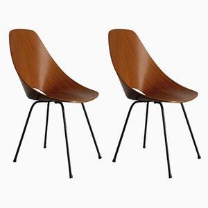 Italienische Esszimmerstühle aus Schichtholz von Vittorio Nobili für Fratelli Tagliabue, 1950er, 2er Set
