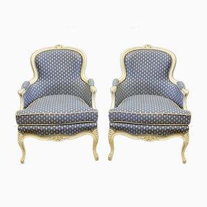 Louis XV Sessel aus weiß lackiertem Holz, 1940er, 2er Set