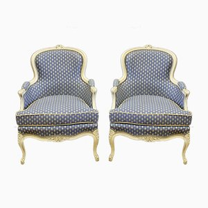Louis XV Style White Lacquered Wooden Lounge Chairs, 1940s, Set of 2
