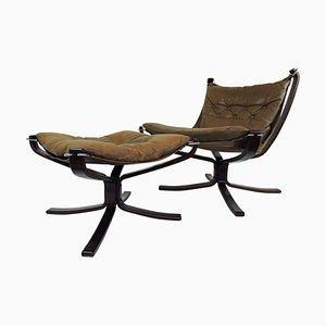 Vintage Sessel & Fußhocker Set von Sigurd Ressell für Vatne Møbler, 1970er
