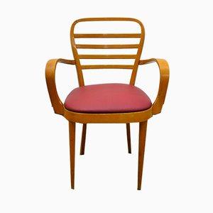 Italian Beech Bentwood Desk Chair, 1950s