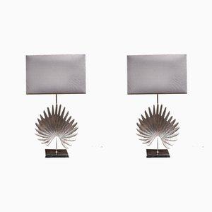 Lampade da tavolo vintage in metallo argentato, anni '80, set di 2