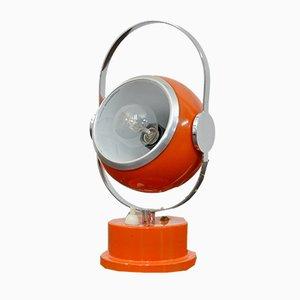 Italian Adjustable Orange Enameled and Chromed Metal and Steel Table Lamp, 1960s