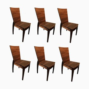 Wooden Dining Chairs, 1960s, Set of 6