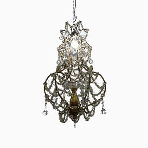 Vintage Italian Crystal and Giltwood Chandelier, 1940s
