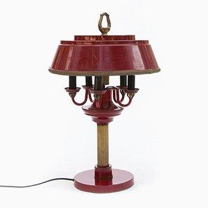 Rot lackierte französische Vintage Bouillotte Tischlampe aus Messing