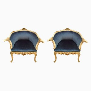 Antique Italian Blue Velvet Armchairs, Set of 2