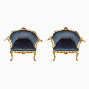 Antique Italian Blue Velvet Armchairs, Set of 2