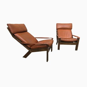 Leather and Wood Armchairs by Sigurd Ressell, 1970s, Set of 2