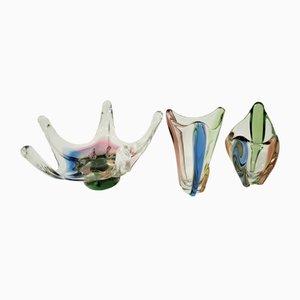 Bols Mid-Century en Verre par Frantisek Zemek pour Mstisov Glass Factory, années 60, Set de 3