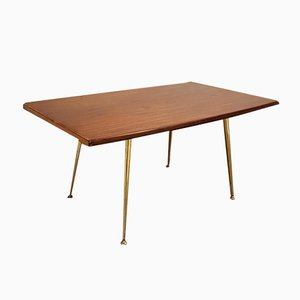 Mid-Century Teak and Brass Coffee Table, 1950s