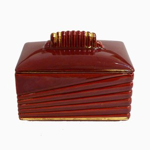 Large Red Ceramic Box by Blanche Letalle for Saint Clément, 1950s