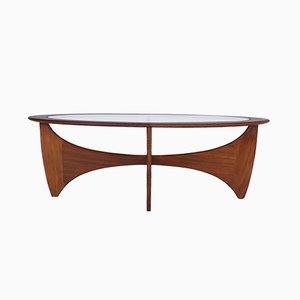 Oval Teak and Glass Astro Coffee Table by Victor Wilkins for G-Plan, 1960s