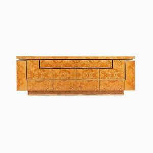 Sideboard aus Ulmenholz & Messing von Jean Claude Mahey für Roche Bobois, 1970er