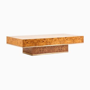 Elm and Brass Coffee Table by Jean-Claude Mahey for Roche Bobois, 1970s