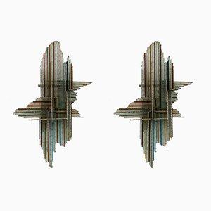 Applique in vetro martellato e metallo di Biancardi & Jordan, Italia, anni '70, set di 2