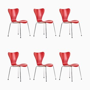 Model 3107 Butterfly Chairs by Arne Jacobsen for Fritz Hansen, 1990s, Set of 6