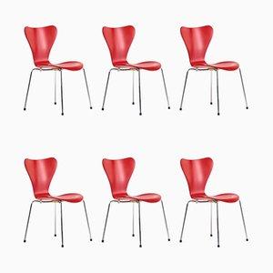 Modell 3107 Butterfly Stühle von Arne Jacobsen für Fritz Hansen, 1990er, 6er Set