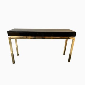 French Lacquered Brass Console Table by Guy Lefevre, 1970s