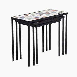 Glazed Ceramic Nesting Tables by Mado Jolain, 1950s